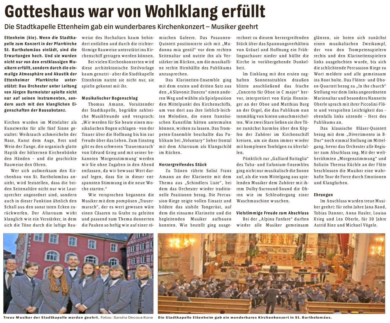 Kirchenkonzert am 26.04.2015 Bericht